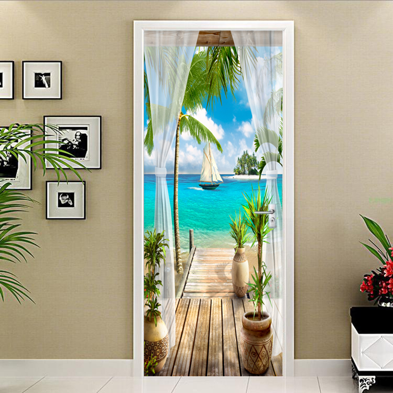 2 Pieces/Set Creative DIY 3D Door Wall Stickers 3D Seaside Landscape Wallpaper Living Room Restaurant Home Decor PVC Home Decor
