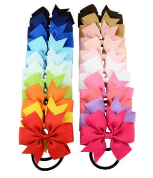 1Pcs 3.15 Inch Girl Boutique Grosgrain Ribbon Bow Elastic Hair Tie Rope Hair Band Bows With Kids Hair Accessories