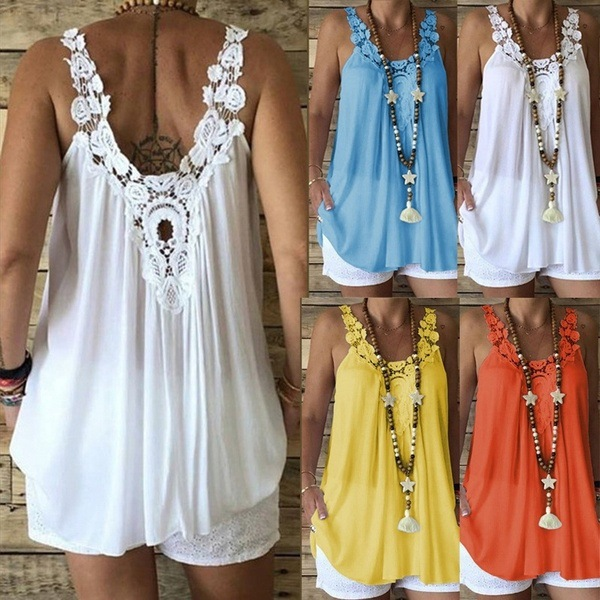 2019 Crochet Summer Women Plus Sizes Casual Female Vest   Tank   Embroidery   Tops   Tees Ruffles Lace Elegant Vintage Befree Boho Loose