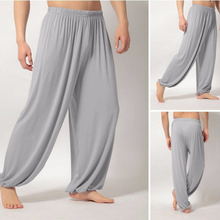 Штаны для йоги Свободные Мужские штаны с высокой талией Тай Чи летние свободные штаны для йоги мешковатые Boho Aladdin Комбинезон шаровары для спортзала mujer