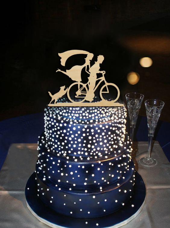Cute Dog Next to Groom Riding A Bicycle with Groom Design Cake Topper Wedding Party Decoration