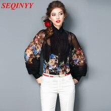 Chiffon Blouse Summer New Fashion 2017 Long Lantern Sleeve Flowers Printed White Black High Quality Loose Shirt