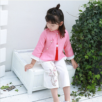 2018 summer new traditional Chinese Cotton Linen Embroidery National Style girls Improved Clothes leisure suit 90 140