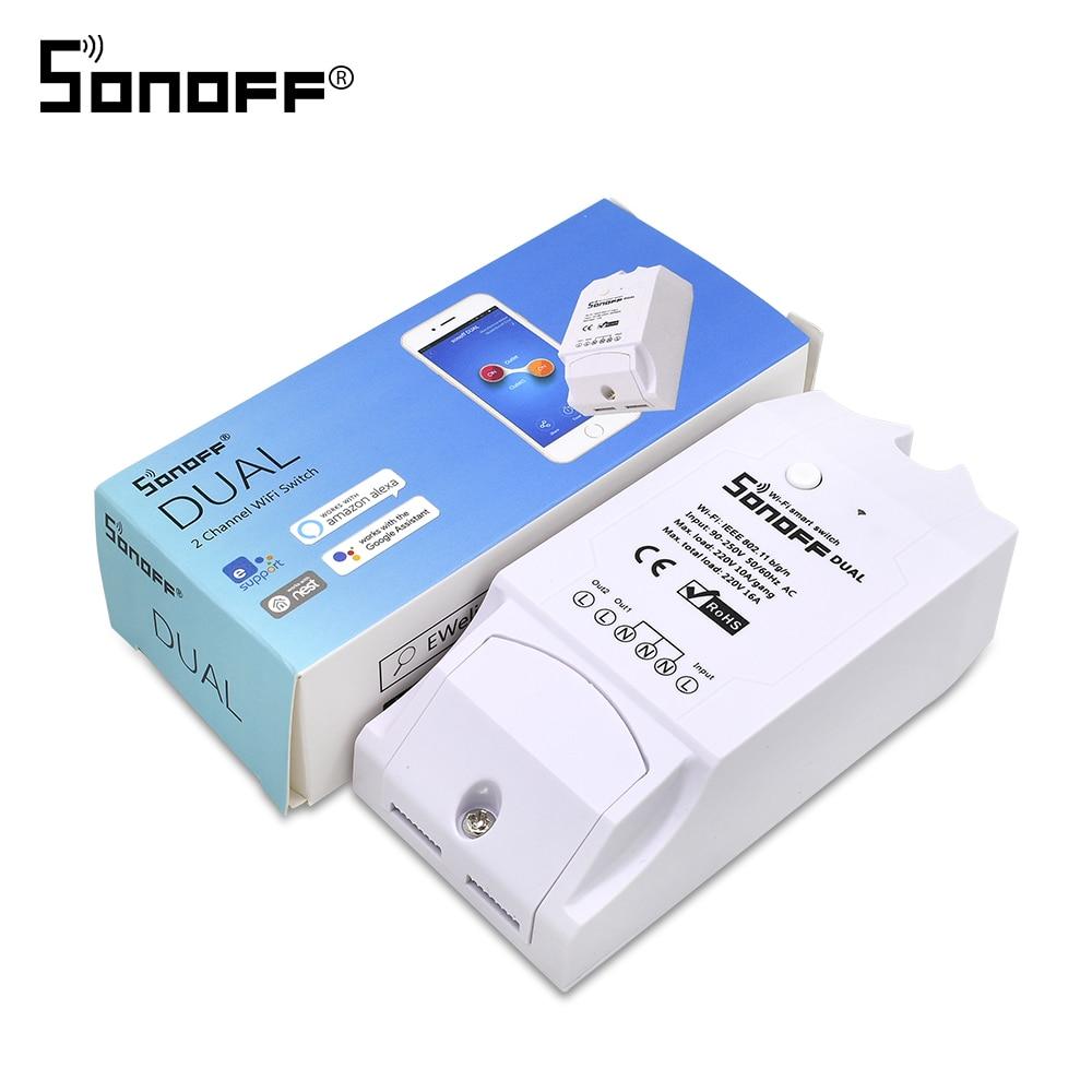 Itead Sonoff Dual 2ch 16A 3500 w Wifi Smart Switch Luce Timer A Distanza Senza Fili 2 Gang Controllo Funziona con Amazon alexa Google Casa