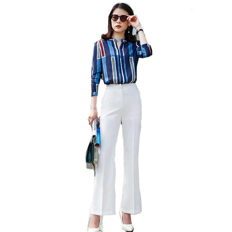 a08bc12bea8 De las mujeres de la moda trajes de negocios diseño de rayas blusa elegante pantalones  2