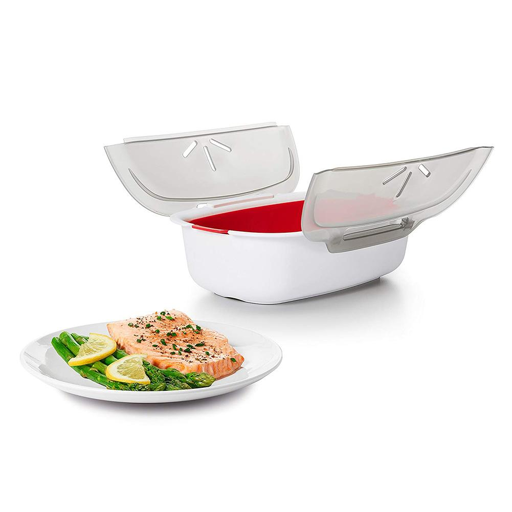 28.5x21.8x8cmMicrowave Steamer Basket Safe Non-toxic Fish Food Microwave Oven Steamer Steaming Dish Kitchen Tool