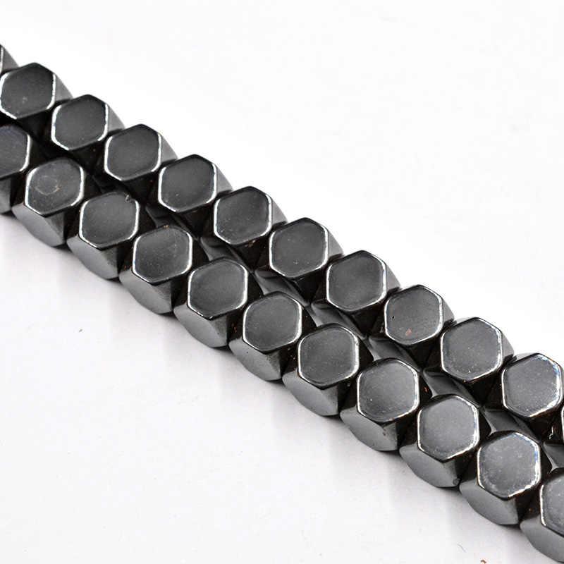 Square Cut Sudut Hitam Bijih Besi Batu 3/4/6/8/10 Mm Membuat Beads untuk Perhiasan membuat Aksesoris Pengatur Jarak Manik-manik Kalung Gelang