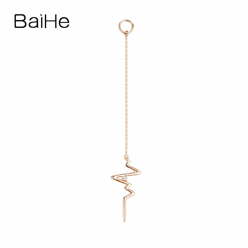 BAIHE Solid 18K Rose Gold Cute/Romantic 0.01ct Round Genuine Natural Diamond Engagement Fine Jewelry Unique gift Stud Earrings yoursfs dangle earrings with long chain austria crystal jewelry gift 18k rose gold plated