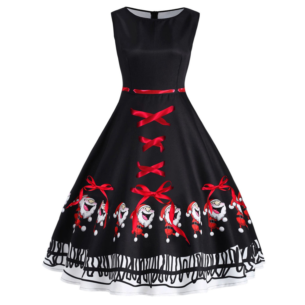 c8eb4aea7f Fashion Women Vintage Plus Size Santa Claus Bow Print Christmas Swing Dress  new arrival 2019