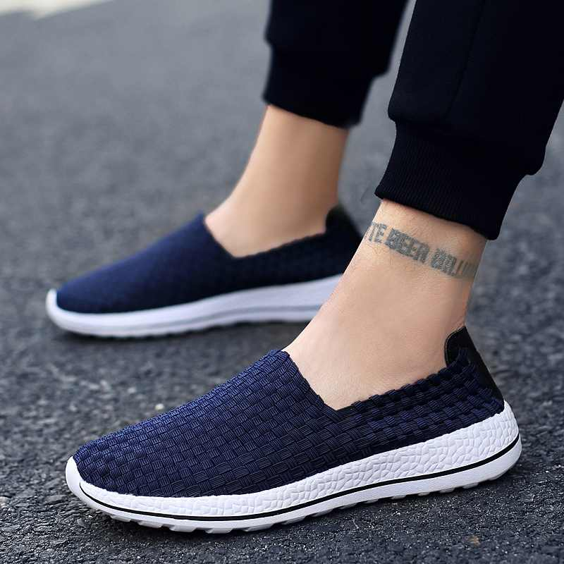 dcb8c9a22 ... Men Shoes Summer Sneakers Casual Breathable Flats Woven Loafers Slip On  Fashion Male Footwear Handmade Sneakers ...