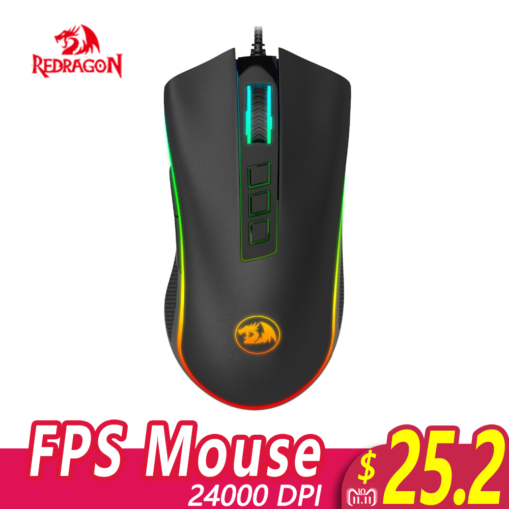 Redragon M711-FPS COBRA FPS Gaming Mouse with 16.8 Million Chroma RGB Color Backlit 24000 DPI 7 Programmable Buttons