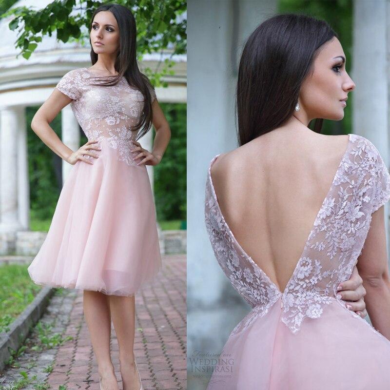 Popular Vintage Pink Lace Wedding Dress Knee Length-Buy Cheap ...