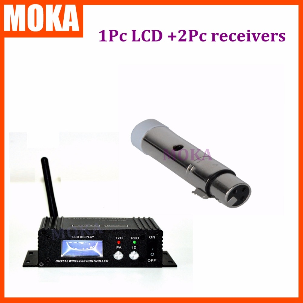 3 Pcs/lot Distance de Communication 400 M sans fil DMX 512 LCD émetteur et récepteurs 2.4G contrôle sans fil