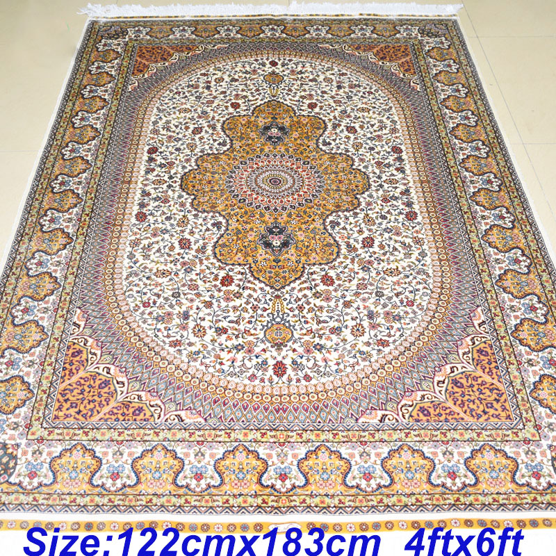 Mingxin Carpet 4x6 Feet Beige Persian Hand Knotted Area Rug, Hand Made  Orienatal Rugs And