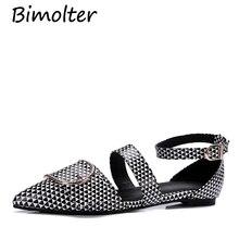 цены на Bimolter Big Size 32-43 Women Pointed Toe Flats Fashion Patent Leather Buckle Shoes Girls Metal Decoration Casual Flats PFEB014  в интернет-магазинах