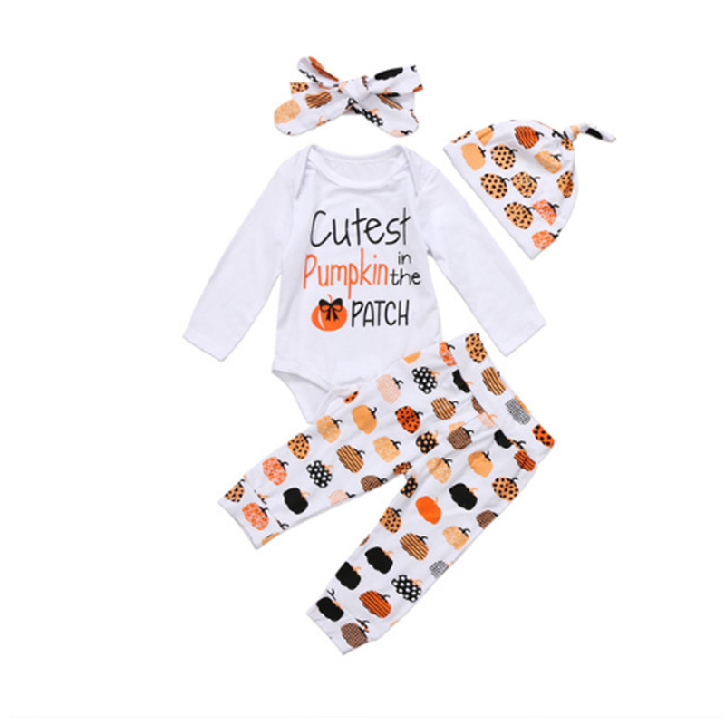 Baby Clothing Halloween Infant Baby Boy Girl pumpkin Romper Top+Pants Jumpsuit Clothes Outfit baby clothes christmas costume for baby infant party dress tutus newborn jumpsuit bebe romper baby girl clothing halloween gift