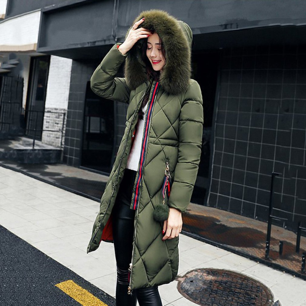 Women Winter Cotton Padded Jacket Warm Slim Parkas Long Thick Coat with fur ball Hooded Outercoat Female Overknee Hoodies Parkas zoe saldana 2017 winter wadded jacket women thick warm faux fur hooded long cotton padded jacket slim parkas winter coat