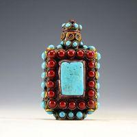 Chiński Stary Tybet Srebrny Cloisonne koraliki piękny turkus tabaka butelki