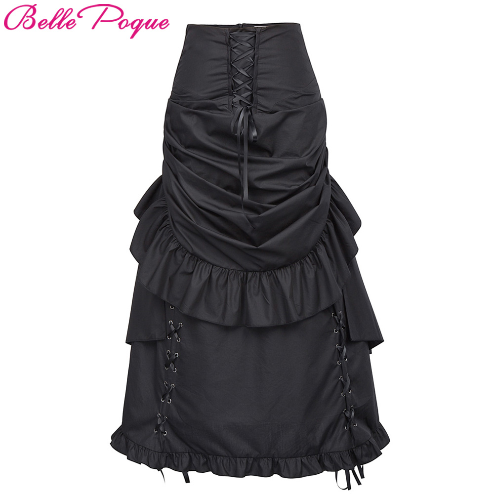 High Waist Long Maxi Skirts Women Retro Vintage Burlesque Skirt 2018 Victorian Edwardian Bustle Punk Steampunk Gothic Skirts