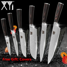 XYj Stainless Steel Kitchen Knives Imitation Damascus Pattern Chef Knife Santoku Cleaver Slicing Utility Knives Tool Knife Cover(China)