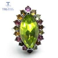 Tbj, Роскошные блестящие Цвет ful природных драгоценных камней кольцо Зеленый Перидот фантазии Цвет Турмалин Fine jewelry 925 серебро для леди