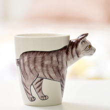 3D Animal Shape Hand Painted Ceramic Mug Coffee Milk Water Cups Leopard Cat Camel Horse Zebra Sika Deer Cow Creative Gift Cup