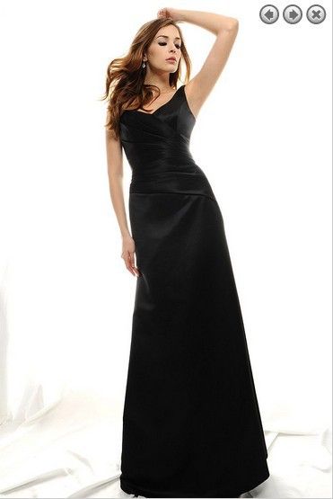 new fashion 2018 sexy v-neck plus size brides vestido de festa formal black long a-line robe de soiree simple   bridesmaid     dresses