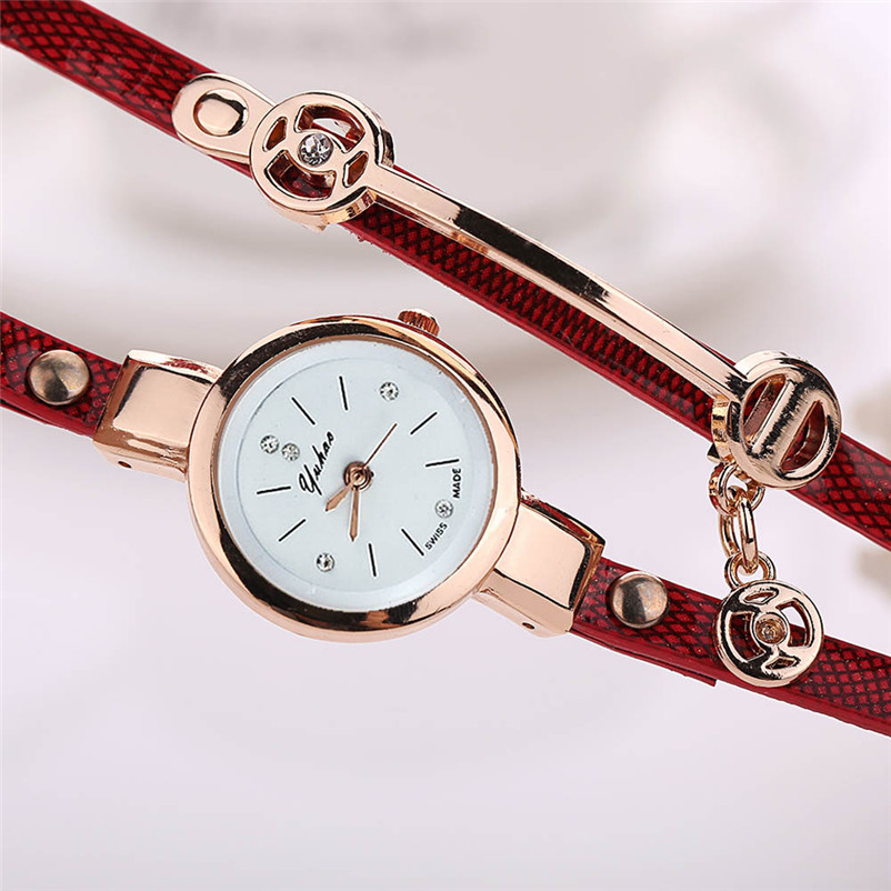 Irisshine Vrouw Horloges Mode Retro Lederen Set Vijzel Armband Quartz - Dameshorloges - Foto 6