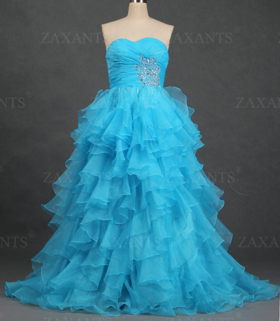 FB061 New Strapless A Line Organza Beaded Formal Prom Dresses Long