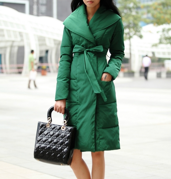 Winter Women cotton Coat Fashion turndown collar Long Design Slim Medium long with belt a1125