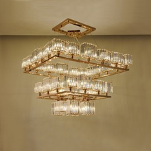 Crystal chandelier luxury custom hotel project large lamp gold LED light designer style