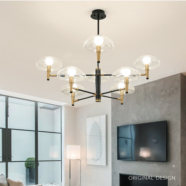 6/8/12 Heads Post-modern Glass Chandelier Nordic Creative Jellyfish Dining Living Room Led Hanging Light Fixtures Free Shipping