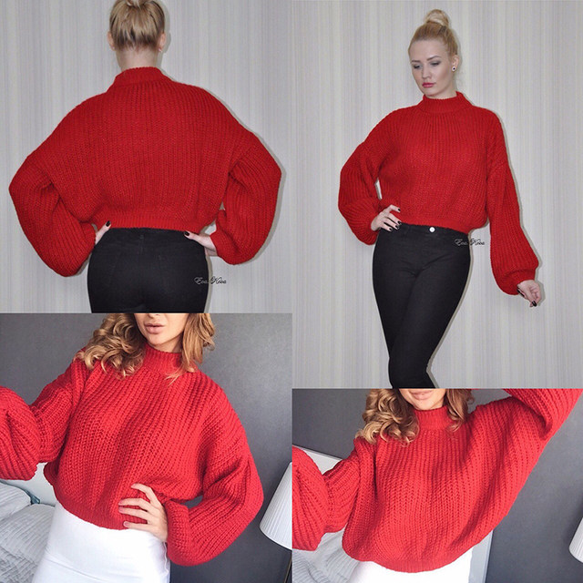 Simplee Winter lantern sleeve knitted sweater pullover Women loose round neck red sweater Female autumn casual sweater jumper 14