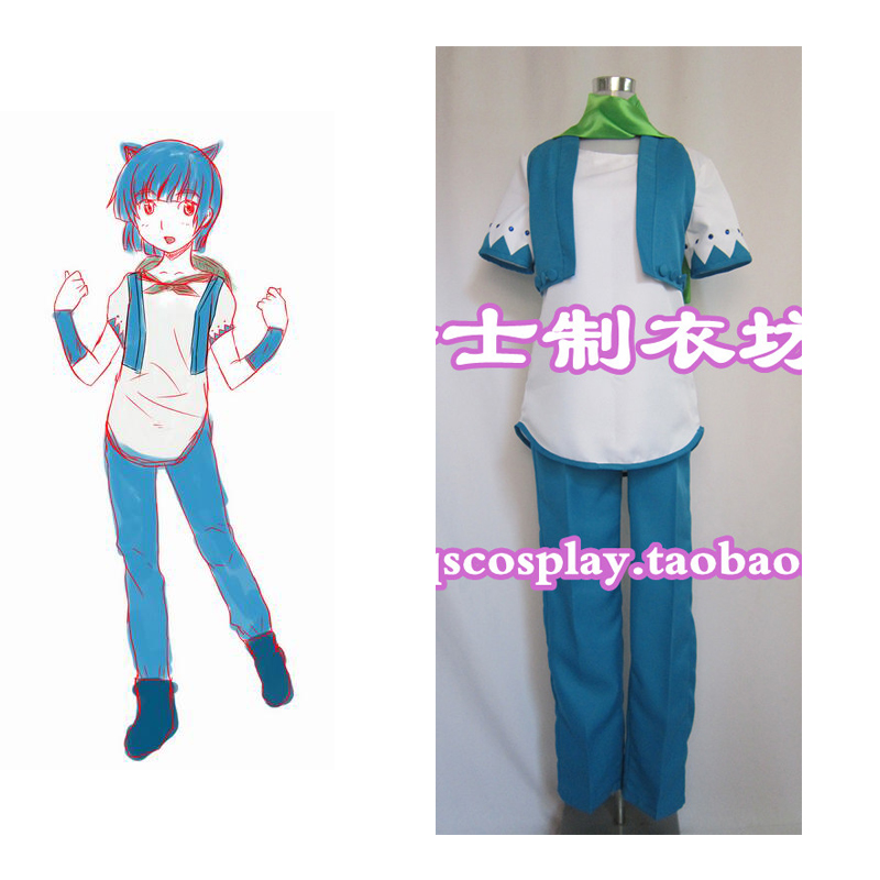 2016 Fairy Tail Happy blue cat Personification Cosplay Costume