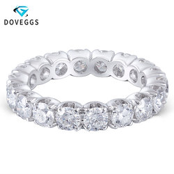 DovEggs Elegent 14 K 585 White Gold 3.5mm Brilliance Lab Grown Moissanite Engagement Ring Voor Vrouwen Eternity Bridal Wedding bands