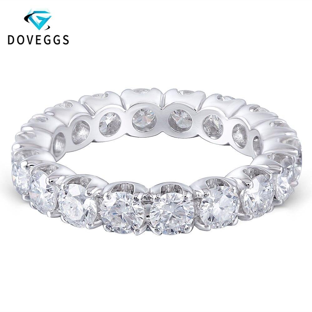 DovEggs Elegent 14K 585 White Gold 3.5mm Brilliance Lab Grown Moissanite Engagement Ring For Women Eternity Bridal Wedding Bands