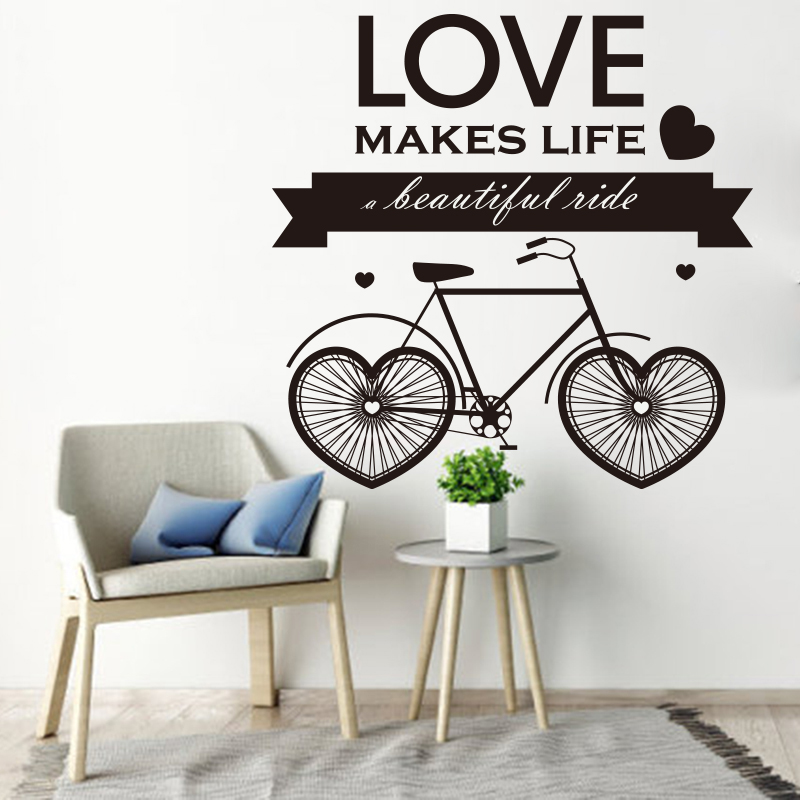 Love makes life a beautiful life quote wall sticker large size heart bicycle wall decal living for Beautiful wall stickers for living room
