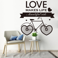 Love Makes Life A Beautiful Life Quote Wall Sticker Large Size Heart Bicycle Wall Decal Living