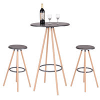 Giantex 3 Piece Bar Table Set With 2 Stools Bistro Pub Round Table Chairs Set Modern