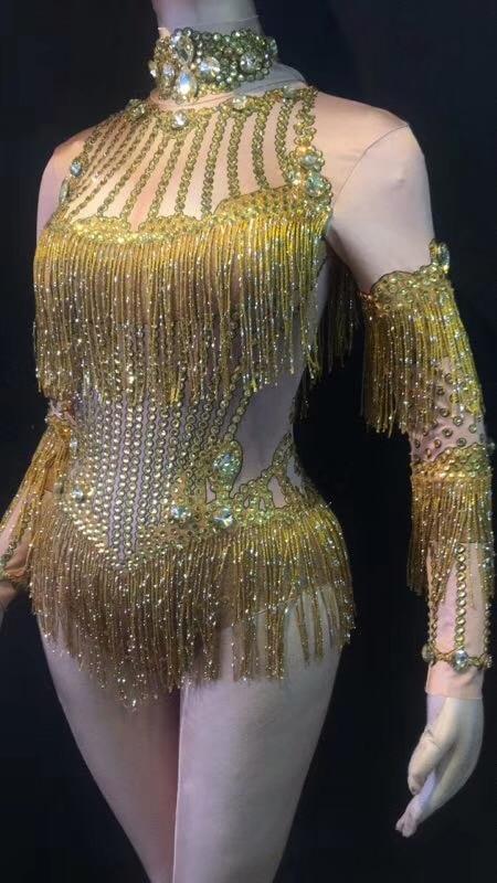 Stage Wea Da Del Luccicanti Costume Cristalli Tuta Show Nappa Celebrare Cantante Sera Donne Frange Stretch Della 2018 Gold Partito Delle Dance Outfit CUvRxw