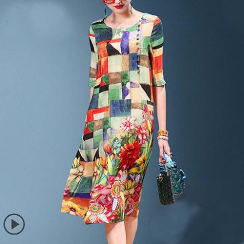 Ennasi 2018 vestido de verano nueva falda de seda de las mujeres - Ropa de mujer