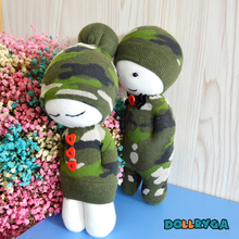 Toys For Children Kids Craft DIY Unfinished Doll Packages School Handwork  Material With Filled Cotton Camouflage Cartoon Puppet