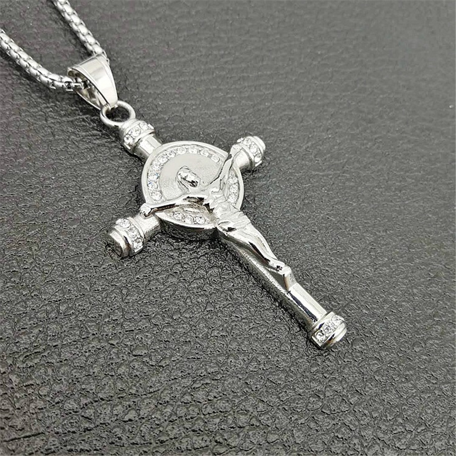 Hip Hop Chain Iced Out Jesus Piece Cross Crucifix Pendant Necklace For Men Gold Color Stainless Steel Male Christian Jewelry in Pendant Necklaces from Jewelry Accessories