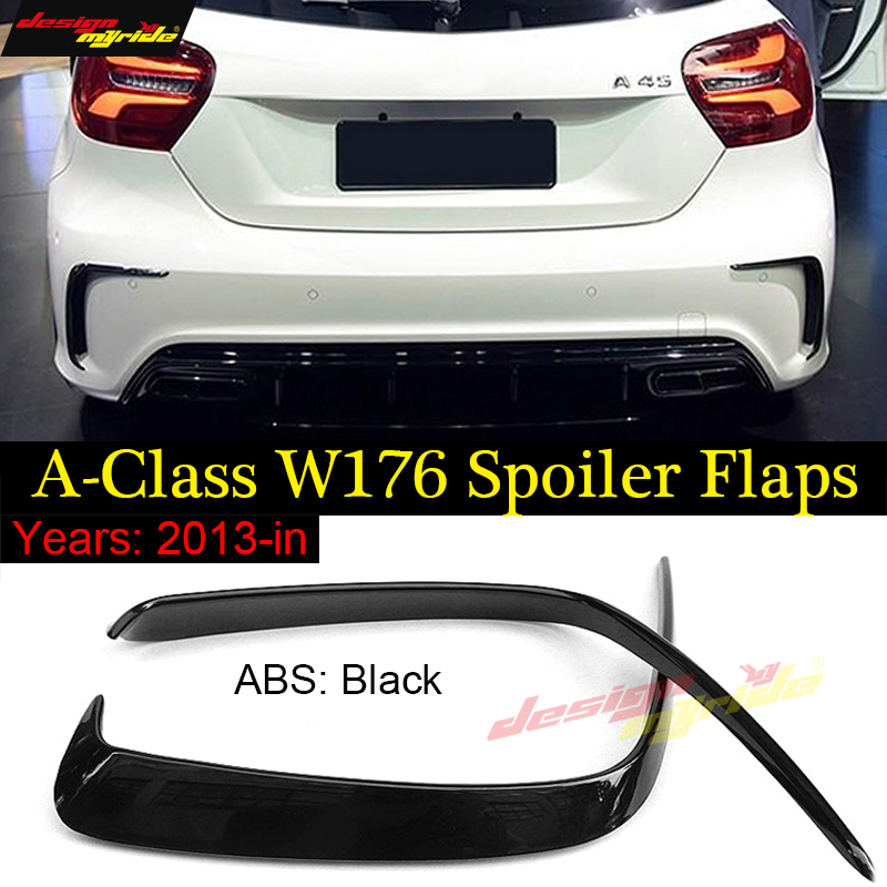 2pcs Car Gloss Black Abs Rear Bumper Splitter Spoilers Canard for Mercedes for Benz W176 Sports A180 <font><b>A200</b></font> A250 A45 For <font><b>AMG</b></font> 13-18 image