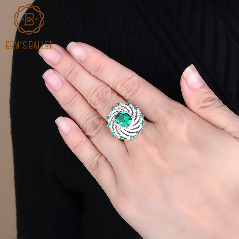 GEM'S BALLET 925 Sterling Silver Gemstone Ring For Women Nano Emerald Green Spiral Shape Vintage Rings Fine Jewelry
