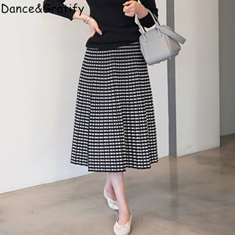 Winter Autumn Knit Skirts Large Size Ladies' Fat Mm Thick Grid Knitted Skirts Joker Micro Fat Big Tall Waist Long Pleated Skirt