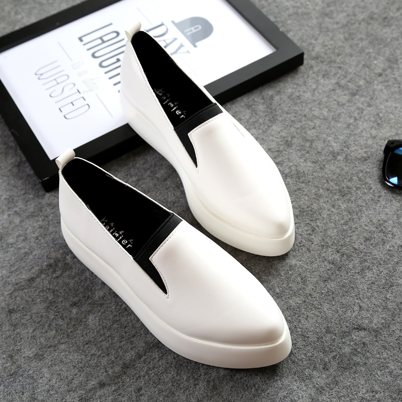 Platform Loafers Leisure Shoes Female White Black Genuine Leather Liner Shoes eyeholes 2016 paillette shoes female genuine leather platform casual shoes sequins glittle eyelashes eyes white shoes