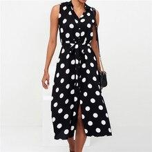 New Arrivals Chiffon 2019 Summer Dress Elegant Dot Print Sleeveless Office Ladies Dresses Round Neck Sashes Beach Dress