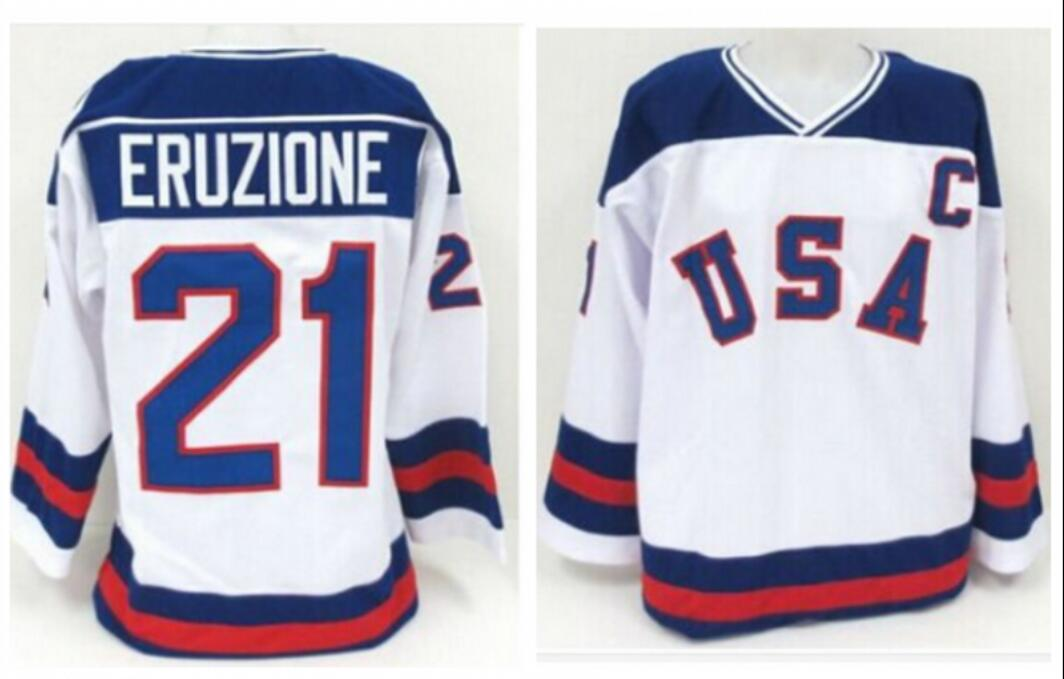 Ice Hockey Jersey Vintage 1980 Miracle On Ice Team USA Mike Eruzione 21 Hockey Jersey Sport Wear Wholesale Dropship ice hockey jersey usa 30 jim craig 17 jack o callahan 21 mike eruzione steenberge 1980 miracle on ice team sewing size s 3xl