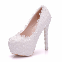 PLatforms High 14cm Heeled White Beading Lace Wedding Shoes Woman Handmade Luxury Lace Flower Bridal Brides Party Shoes XY-A0324 white lace flower flat heel wedding flats shoes woman bride bridal handmade plus size 41 42 43 beading pearls party shoe hs312